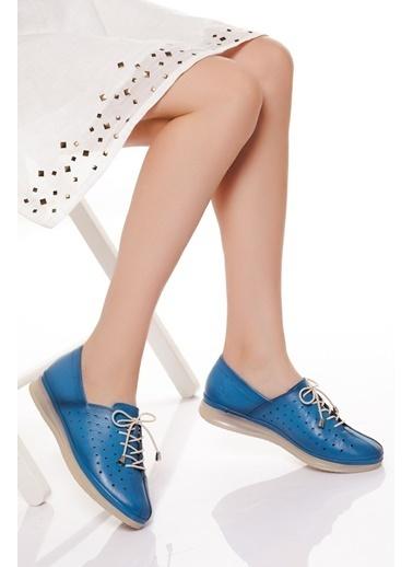 Derithy Hakiki Deri Ayakkabı Mavi